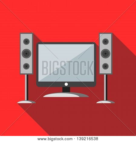 Home cinema with sound speakers icon in flat style on a red background