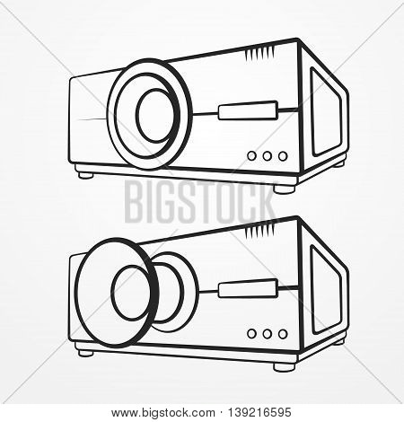 Set of two abstract typical projectors in graphic silhouette style. Video vector stock image.
