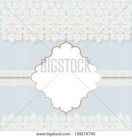 Vector lace crochet card background with bow and retro dotted design. Wedding invitation or greeting card design with lace handmade doily pattern. Place for text. Beautiful luxury postcard ornate page cover ornamental vector illustration
