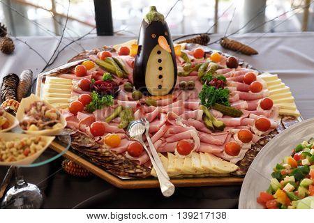 Classic Croatian starter plate with Fine Croatian ham, sliced salami and cheese
