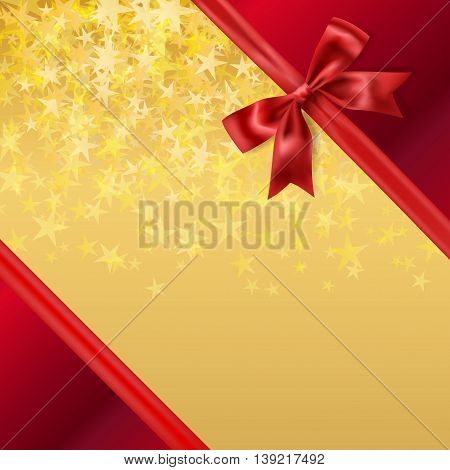 golden stary background with red silky ribbon bow decoration. vector