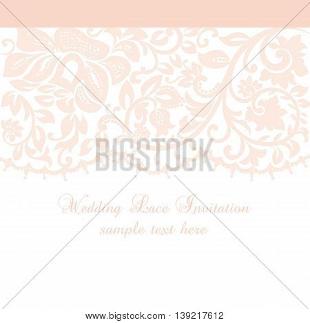 Vector Lace Invitation card with lace floral ornament. Delicate lace design card for wedding ceremonies anniversary party events. Rose quartz color