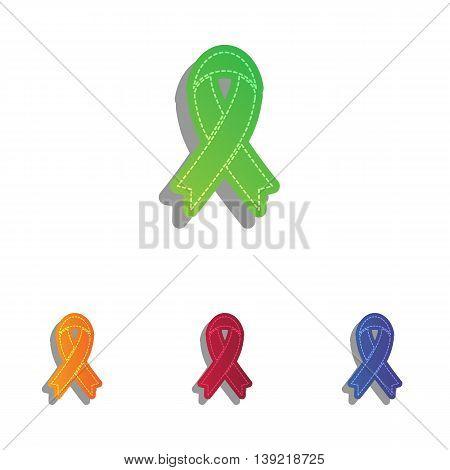 Black awareness ribbon sign. Colorfull applique icons set.