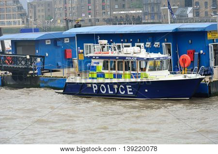 WAPPING LONDON UK 16 September 2014: Police Boat