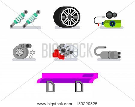 Car parts. Automotive, motor and vehicle, flat vector icons