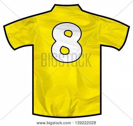 Number 8 eight yellow sport shirt as a soccer, hockey, basket, rugby, baseball, volley or football team t-shirt. Like brazil national team