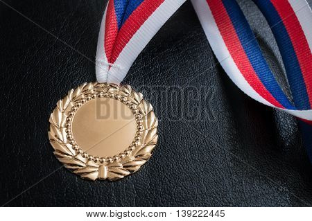 Golden Medal - Award For A Winner On Black Background.