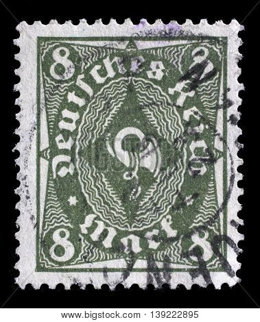 ZAGREB, CROATIA - JULY 18: A stamp printed in Germany shows a posthorn, circa 1922, on July 18, 2012, Zagreb, Croatia