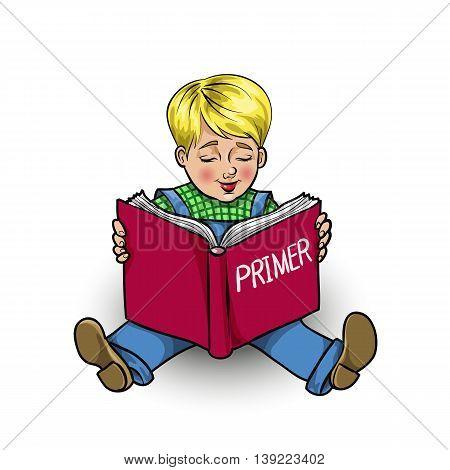 Isolated cartoon little boy reading a book primer vector illustration