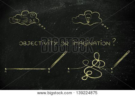 Rationality Vs Creative Process, Point A To B Lines And Thought Bubbles