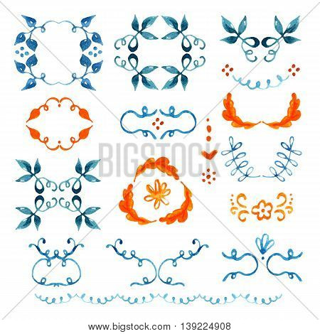 Watercolor floral set of wreaths and other design elements. Hand painted raster illustration