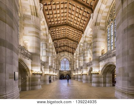 Interior Of Yale University Library