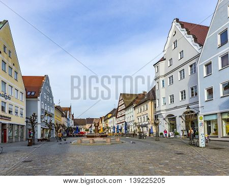 People In The Old  Pedestrian Zone In Guensburg