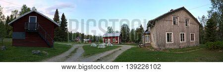 Panoramic View Of Spoekpraestgaard, A Haunted Clergy House, In Borgvattnet In Sweden