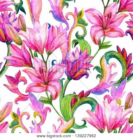 Lily seamless pattern with watercolor painted ornament. Floral background. Hand painted illustration