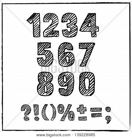Vector Hand Drawn Sketch Numbers And Signs. Ink Scratched Font.