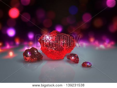 Red Crystals With Light Bokeh Background