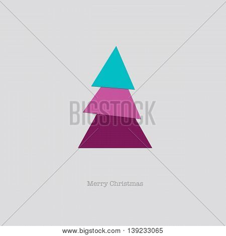 Sleek modern Merry Christmas card with a folded pink blue paper tree.