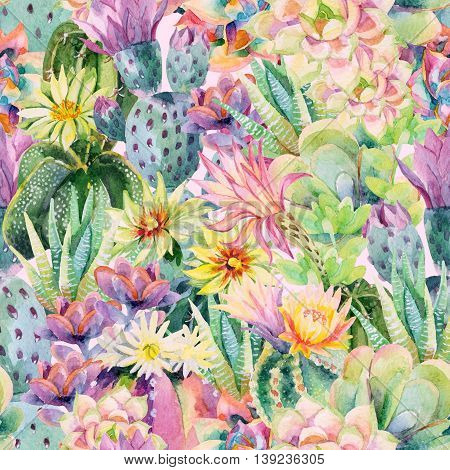 Watercolor blooming cactus background. Exotic cacti with flowers seamless pattern. Succulent plants and cactus garden pattern. Hand painted watercolor illustration in vintage colors.