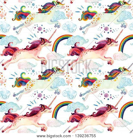Watercolor unicorn seamless pattern. Watercolor fairy tale with flying unicorn rainbow magic clouds and rain on white background. Hand painted fairy tale elements for kids children design