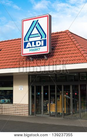 OLDENZAAL NETHERLANDS - NOVEMBER 3 2015: Aldi store logo. Aldi is an internationally operating German chain of discount supermarkets founded in 1946 in Essen by the brothers Karl and Theo Albrecht