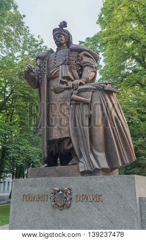 Kiev, Ukraine - June 18, 2016: Monument cossack hetman Pylyp Orlyk