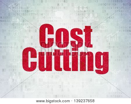 Finance concept: Painted red text Cost Cutting on Digital Data Paper background with  Scheme Of Hand Drawn Business Icons
