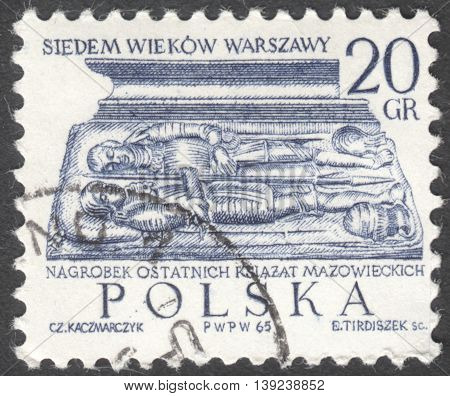 MOSCOW RUSSIA - CIRCA JANUARY 2016: a post stamp printed in POLAND shows a tombstone of Dukes of Mazovia the series