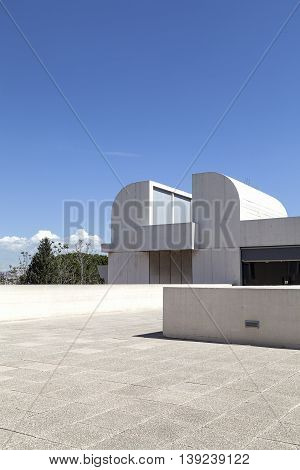 BARCELONA SPAIN - MAY 12 2016 : Terrace of the building Joan Miro Foundation in a sunny day. Joan Miro Foundation Centre of Studies of Contemporary Art is a museum of modern art located on the hill Montjuïc .It was founded in 1968.