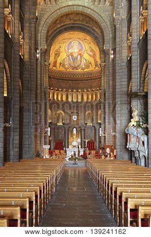 MONACO CITY MONACO - JANUARY 18: Saint Nicholas Cathedral in Monaco on JANUARY 18 2012. Saint Nicholas Cathedral Hall in Monaco City Monaco.