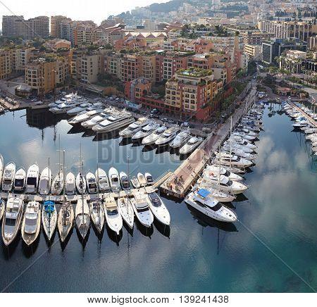 FONTVIELLE MONACO - JANUARY 18: Fontvieille Harbour in Monaco on JANUARY 18 2012. Aerial Photo of Fontvieille Port in Fontvieille Monaco.