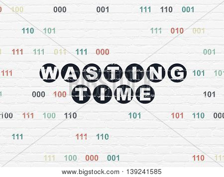 Time concept: Painted black text Wasting Time on White Brick wall background with Binary Code