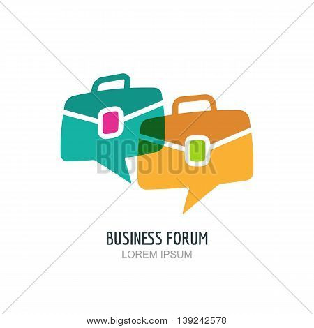 Business forum vector logo or label design. Blog or chat portfolio color icon. Hand drawn speech bubble and briefcase illustration. Concept for blog design, chat, forum, social network, communication.