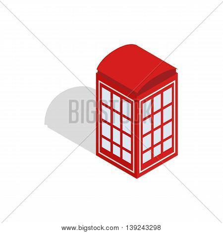 Red telephone booth icon in isometric 3d style isolated on white background. Conversations symbol