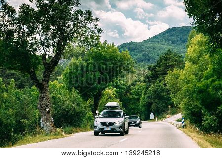 Verdon, France - June 29, 2015: Mazda car on background of French mountain nature landscape