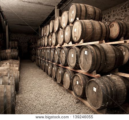 A abstract aging room barrels of tequila