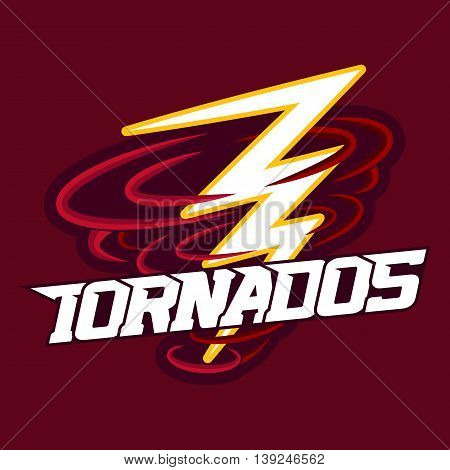 Tornado mascot for sport teams. Tornado with Lightning, logo, symbol on a dark background