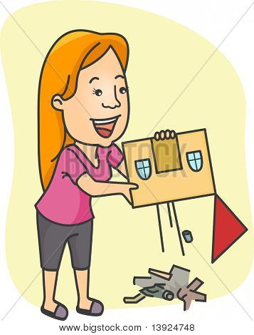 Illustration of a Girl Doing Some Cleaning