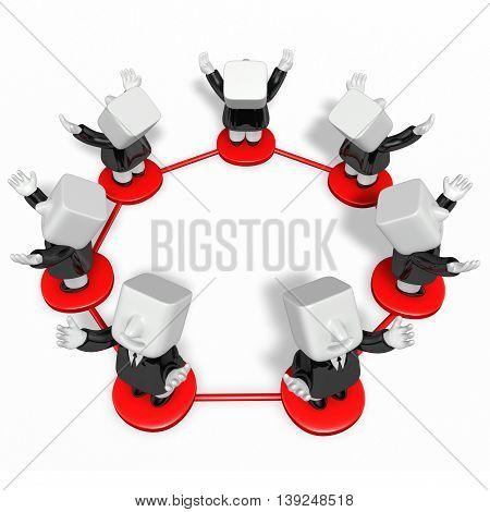 3D Business Men Standing To Look Upward Together