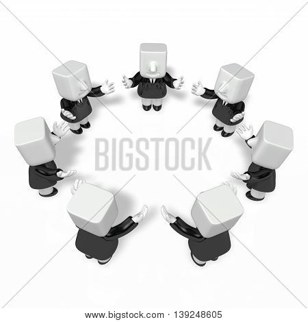 3D Business Men Throwing Up Their Hands In A Circle