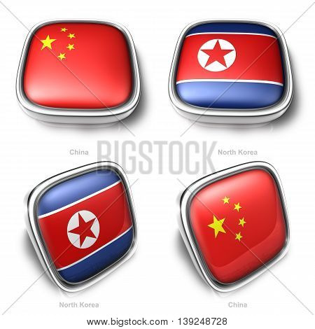 3D China And North Korea Flag Button
