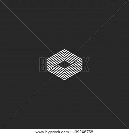 Cube Logo Isometric, Infinity Geometric Shape Illusion, Hipster Monogram Infinite Thin Line Innovati