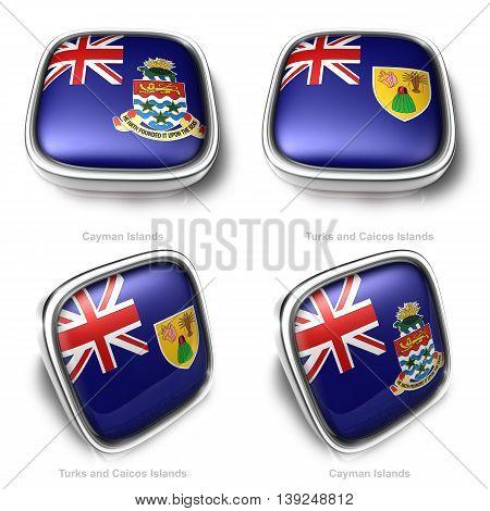 3D Cayman Islands And Turks Caicos Islands Flag Button