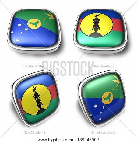 3D Christmas Island And New Caledonia Flag Button