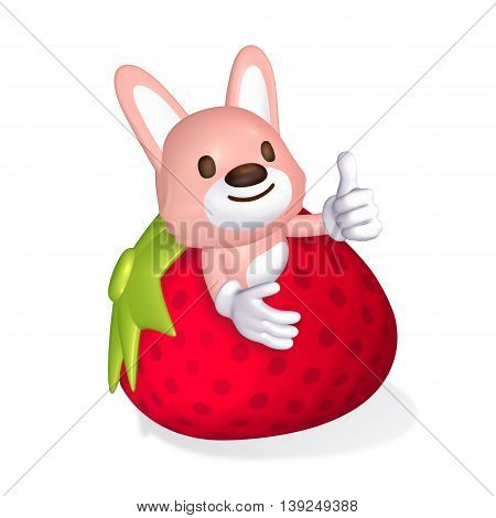 3D Cute Pink Rabbit In The Big Strawberry