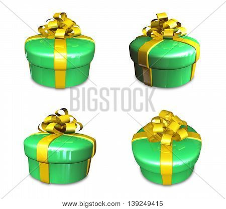 3D Decorated Anniversary Green Present With Yellow Ribbon