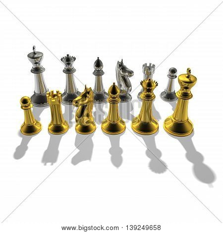 3D Gold And Silver Chessmans Standing Side By Side