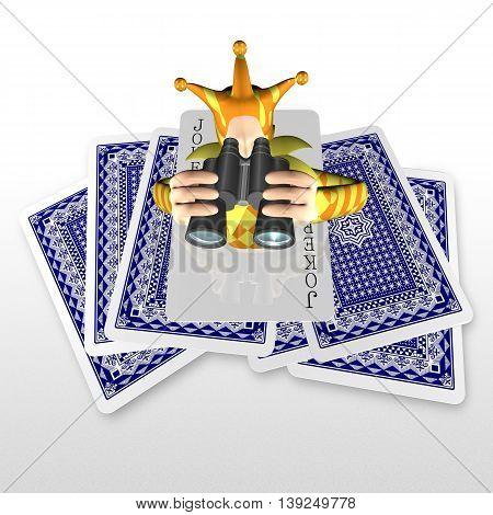 3D Joker Popping Out From Trump Cards With Telescope
