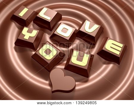 3D Lettering Hard Mini Chocolate And Heart On Meltting Chocolate
