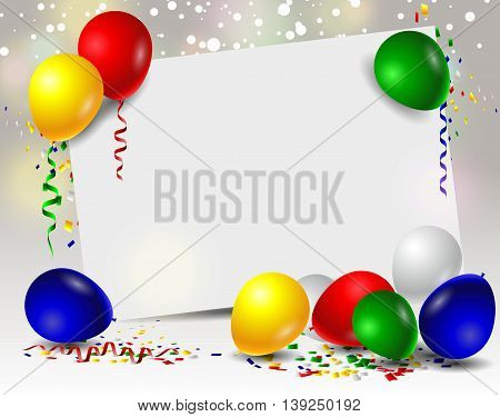 Birthday card with colorful balloons for you design